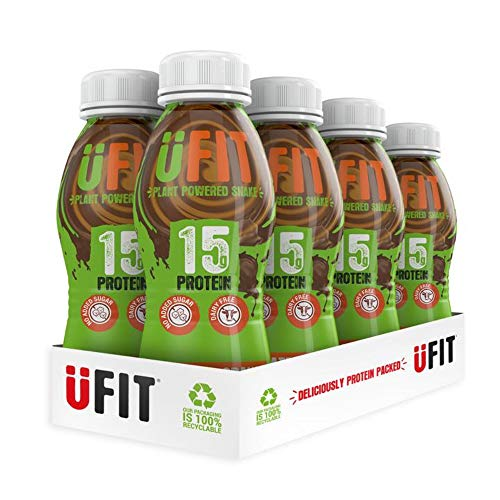 UFIT High 15g Vegan Protein Shake Drink, No Added Sugar, Plant-Power - Chocolate Orange Flavour Ready to Drink (Pack of 8 x 310ml)