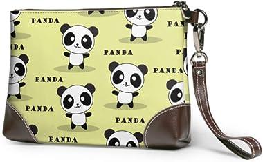 Ahdyr Pochette en cuir souple étanche en cuir bracelet pochette dessin animé mignon Panda dames embrayage sac à main en cuir