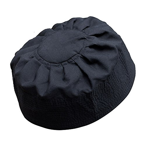 Black Cotton Pleated Top 3.5in Tall Fabric Kufi Prayer Cap Beanie (S)