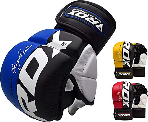 RDX MMA Handschuhe Profi UFC Kampfsport Sparring Freefight Sandsack Trainingshandschuhe Grappling Gloves (L, Blau)