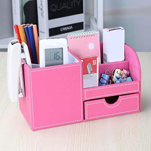 JWCN Stifthalter Bürobedarf Büro Schreibtisch Organizer Aufbewahrungssystem 4 Aufbewahrungsfach PU Leder Bleistiftbox Post-It Tisch Organizer mit Stifthalter & Schublade Grün-Rosa Uptodate