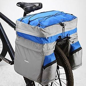 Docooler 60L Ciclismo Bicicleta Bolsa Bici Doble Cara Posterior Rack Cola Asiento Tronco Bolso Alforja (Azul)