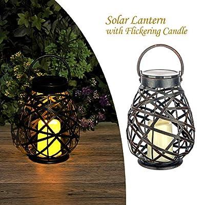 Solar Lanterns Outdoor Hanging Solar Lights Decorative for Garden Patio Yard Tabletop with Flickering Candle Warm LED Light. Solar Garden Lights.