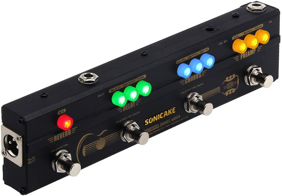 SONICAKE Sonic Wood Acoustic Guitar Preamp DI Box Multi Effects Chorus Delay Reverb Pedal with XLR Output
