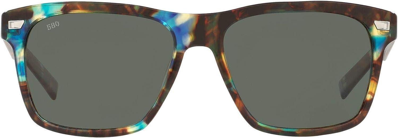 Costa Del Mar Men's Aransas Polarized Round Sunglasses, Shiny Ocean Tortoise/Grey Polarized-580G, 58 mm