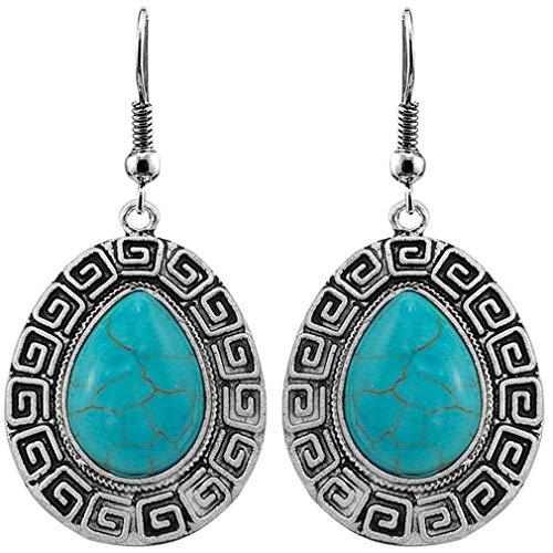 YAZILIND pendientes turquesa estilo bohemio piedra preciosa fishHook pendientes de joyería de la mujer regalo #6