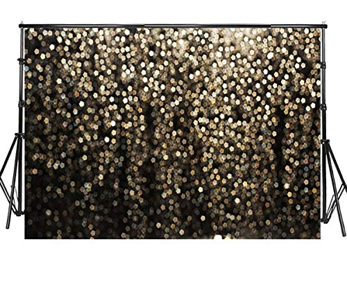 Sensfun 7x5ft Black Gold Bokeh Spots Photo Backdrop Vintage Abstract Glitter Dot Starry Sky Photography Background for Baby Shower Birthday Party Wedding Graduation Prom Dance Photoshoot Props(WP137)