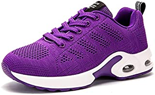 FYXKGLa Flat Bottom Women's Shoes Autumn Section Breathable Flying Woven Sports Shoes Cushion Cushioning Casual Running Shoes (Color : Purple, Size : 39EU)