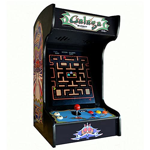 Doc and Pies Arcade Factory Classic Arcade Machine - Tabletop and Bartop - 412 Retro Games - Full Size LCD Screen, Buttons and Joystick - 2 Year Warranty (Black)