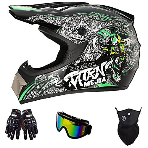Casco De Motocross para Jóvenes con Certificación Dot, con Gafas Guantes Protector Facial Casco De Seguridad para Accidentes De Bicicleta De Montaña para Adultos