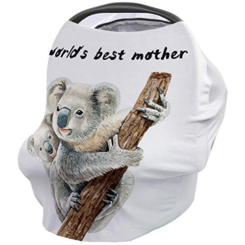Baby Stroller Cover Breastfeeding Nursing Shawl, Ultra Soft Breathable Breastfeeding Towel for Infant Carseat Canopy, Shopping Cart, Highchair - World's Best Mother Cute Koala Mother and Child