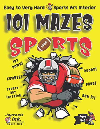 Sports Maze Book for Kids Ages 4-8: 101 Puzzle Pages. Easy to Ultimate Level. Custom Sports Art Interior. SUPER KIDZ. Football Player Smash. (Sports MO12)