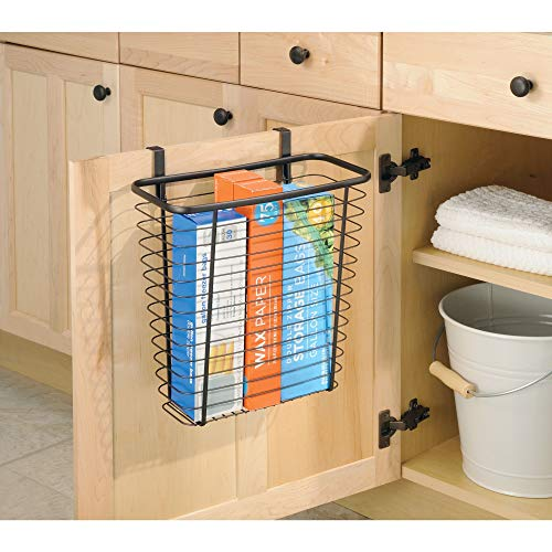 iDesign Axis Steel Over the Cabinet Storage Basket Organizer Waste Basket, for Aluminum Foil, Sandwich Bags, Cleaning Supplies, Garbage Bags, Bath Supplies, Bronze