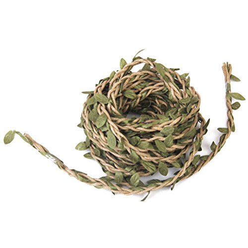 FENICAL 10m Handmade Garland Rattan Artificial Leaf Vine Plants Decoration DIY Arts and Crafts Foliage Green Leaves Rattan Wreath Decorative Christmas Tree Decorations