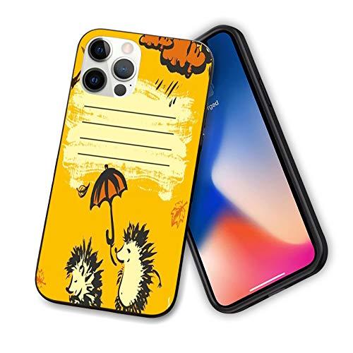 """Coque amusante compatible avec iPhone 12 Series 2020, motif 2 hérissons avec un parapluie et un nuage par temps pluvieux, design flexible en TPU pour iPhone 12 Mini 5,4"""""""