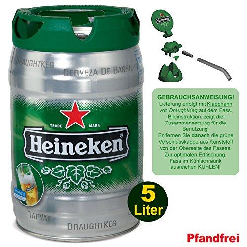 Heineken Fass 5% Vol. Premium Quality Bier (1x 5000ml) - 30 Tage Frischhalte-Fässchen incl. Zapfvorrichtung