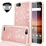 ZTE Tempo X/Blade Vantage/Avid 4 / Fanfare 3 Case with Tempered Glass Screen Protector [2 Pack],LeYi Glitter Girls Women Heavy Duty Protective Phone Case for ZTE Tempo X N9137 TP Rose Gold