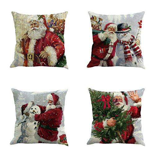 Juego de 4 fundas de almohada de Navidad de Papá Noel de 45,7 x 45,7 cm, de algodón, lino y lino, juego de fundas de almohada decorativas para exteriores, sofá, cama, coche