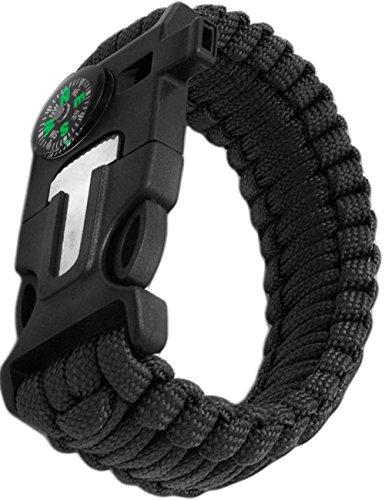 Outdoor Saxx® - Bracelet d'extérieur 4 en 1 multi-outils de survie en paracorde, boussole, sifflet, grattoir, couteau noir