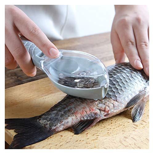 Geschirr Fisch-Haut-Bürsten-Scraping-Fisch-Skala-Bürste-Raspel Werkzeug Demontage Messer-Reinigungs-Schaber Küchenzubehör (Color : White, Size : 16x5.5x4.2cm)