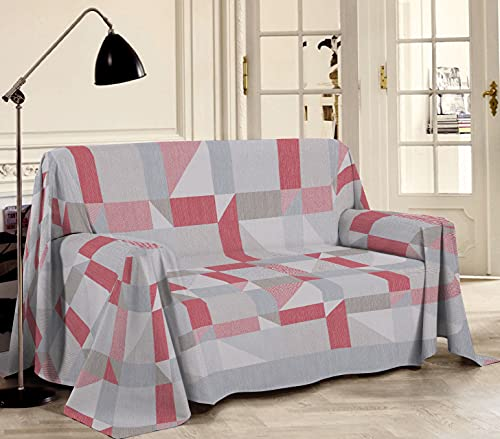 HomeLife - Tela decorativa para sofá, diseño geométrico [250 x 290 cm] fabricada en Italia – Tela multiusos de algodón – Granfoulard colcha de verano para cama de matrimonio – Rojo