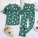 Pijama De Satén Para Mujer,Primavera De Moda Y Verano Señoras Pijamas Traje De Solapa Casual Polka Punto Pantalones De Manga Corta Servicio Doméstico Verano Rayon Pijama Suave Verde Elegante Fi