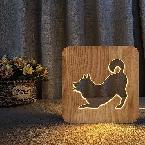 KK Zachary Luz nocturna de madera Shiba Inu lindo perro 3D hueco USB creativo decorativo LED lámpara de mesa dormitorio habitación infantil cumpleaños 19 x 19 cm escritorio
