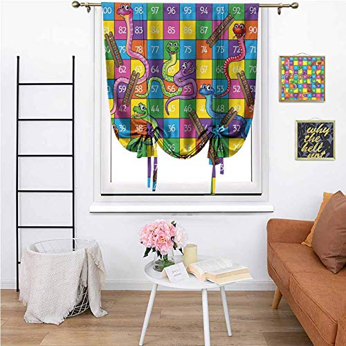 Blackout Tie Up Curtain, Board Game Blackout Curtains Cute Snakes Smiling Faces Numbers in Squares Ladders Childrens Kids Play Print Full Light Blocking Drapes for Bedroom 42'x72' Multicolor