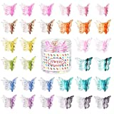 50 Pieces Butterfly Hair Clips Mini Hair Clips, Tiweio Small Hair Claw Clips Pastel Hair Clips Mini Cute Hair Accessories Clips for Hair 90s Women Girls with Box Package, 12 Assorted Gradient Colors