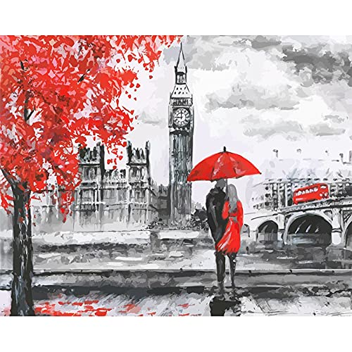 ZXDA Frameless DIY Pintura por números Londres Amante Paisaje Moderno Cuadro de Arte de Pared acrílico para Colorear por números decoración del hogar A3 60x75cm