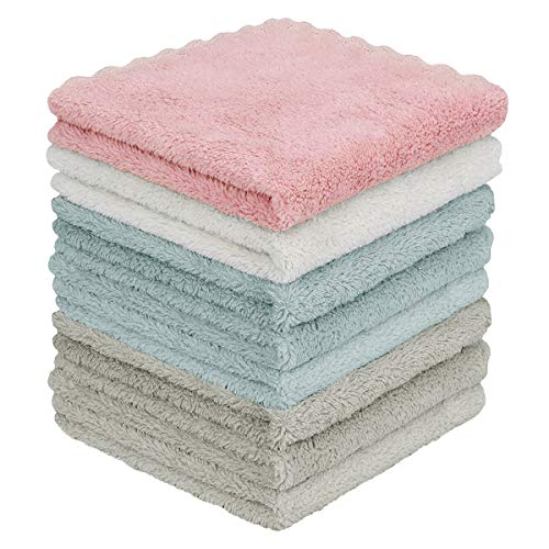 YesTree Dish Towels Kitchen Cloth 8 Packs Super Absorbent Coral Velvet Dishtowels Double-Sided Premium Dish Cloths Bar Towels and Tea Towels Washable Nonstick Oil Fast Drying