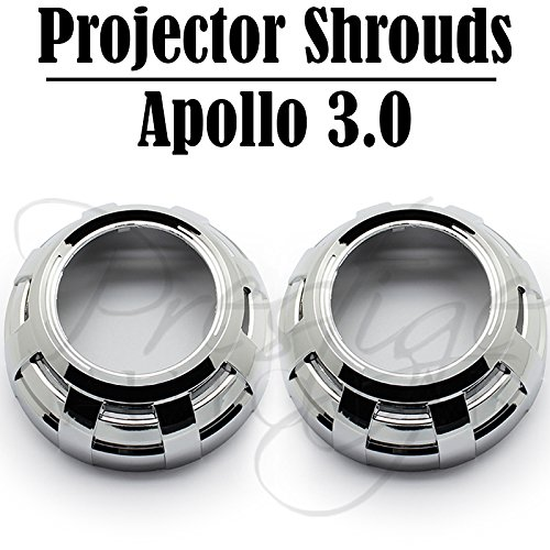 """2x Apollo 3.0 Chrome Projector shrouds for HID/LED Retrofit 2.5"""" & 3"""" Projector"""