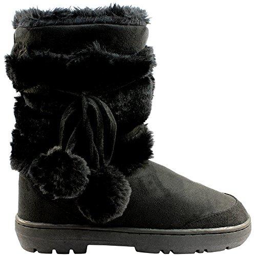 Holly Damen Schuhe Pom Pom Fell Schnee Regen Stiefel Winter Pelzstiefel, Tan, 39 EU