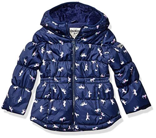 Osh Kosh Girls' Little Midweight Fleece-Lined Jacket, Navy Unicorns, 6X