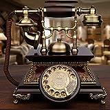 アンティーク電話ヨーロッパレトロ電話無垢材スピン古い有線固定電話用リビングルームベッドルームベッドサイド研究ホテル