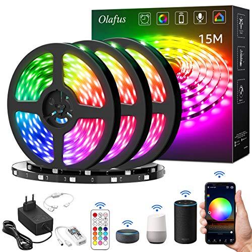 Olafus 15m Wifi LED Streifen, RGB LED Strip Smart Kit steuerbar via App, Kompatibel mit Alexa, Google,16 Millionen Farben, 5050 Lichtband, Musik Deko für Wohnzimmer Küche Party