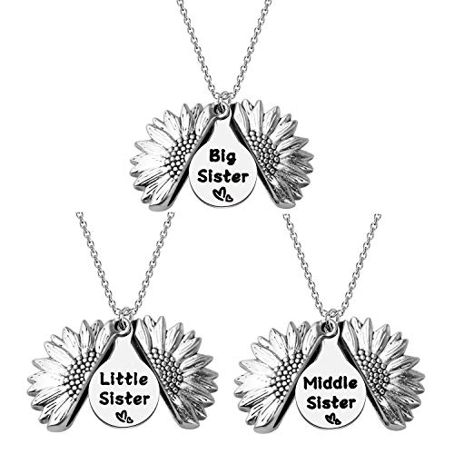 Big Sis Middle Sis Little Sis 3 Piece Sunflower Open Locket Sisters Necklace Set (Sunflower 3Sis)