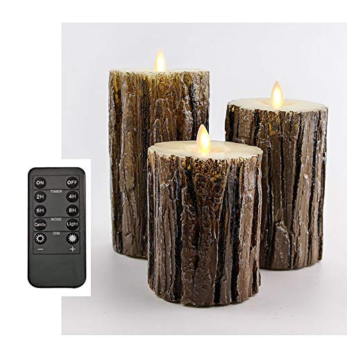 Flickering Flameless Candles, Bark Effect Real Wax LED Decorative Candles with Remote Control Cycling 24 Hours Timer, 4' 5' 6' Pack of 3