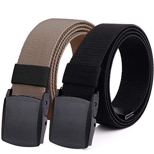 "Hoanan 2-Pack Elastic Stretch Belt, Men's Plus Size No Metal Nylon Tactical Hiking Belt(black/brown-up to 50"")"