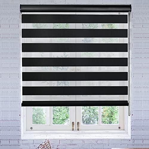 LUCKUP Horizontaler Fensterschatten-Rollos mit Volant, Zebra-Doppelrollos, Tages- und Nachtvorhänge für Schlafzimmer, Badezimmer, Terrassentür und Büro, einfache Installation, 51 cm x 183 cm, schwarz