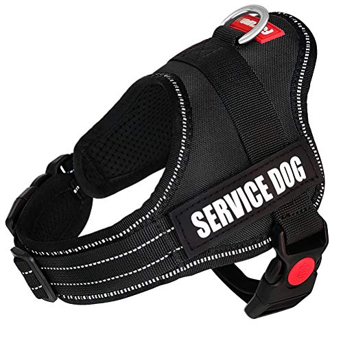 """Fairwin Service Vest Dog Harness - Adjustable Nylon with Removable Reflective Patches for Service Dogs Large Medium Small Sizes (XS:Chest 18""""-21"""";Neck 11""""-14"""", Black)"""