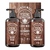Beard Wash & Beard Conditioner Set w/Argan & Jojoba Oils - Softens & Strengthens - Natural Sandalwood Scent - Beard Shampoo w/Beard Oil (17oz)
