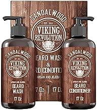 Beard Wash & Beard Conditioner Set w/Argan & Jojoba Oils - Softens & Strengthens - Natural Sandalwood Scent - Beard Shampoo w/Beard Oil (17oz)