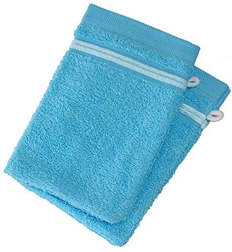 Lot de 2 Gants de Toilette 100% Coton - 550 grS/m2 Turquoise avec Liserets Blanc
