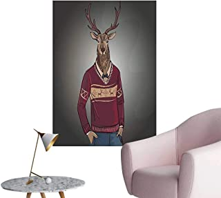 Wall Painting Deer Hipster in Jacquard Sweater Hand Drawn Vintage Trendy Artwork Image High-Definition Design,24