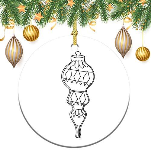 None-brands Monogram Ornament Wreath Ornament Xmas Tree Ornament Custom 2020 Ornament Mid Century Black Ornament,Christams Xmas Gift,Christmasation,Round Flat Keepsake