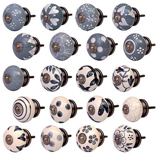 Set 20 Stück Möbelknöpfe Keramik verschiedene Farben handbemalt Shabby-Chic Vintage (19SETVAR-08)