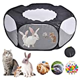 DINAPENTS Small Animals Playpen Pet Cage Tent,Folding Breathable Waterproof Portable Yard Fence with Top Cover Anti Escape Yard Fence,for Guinea Pig/Rabbits/Hamster/Chinchillas/Hedgehogs