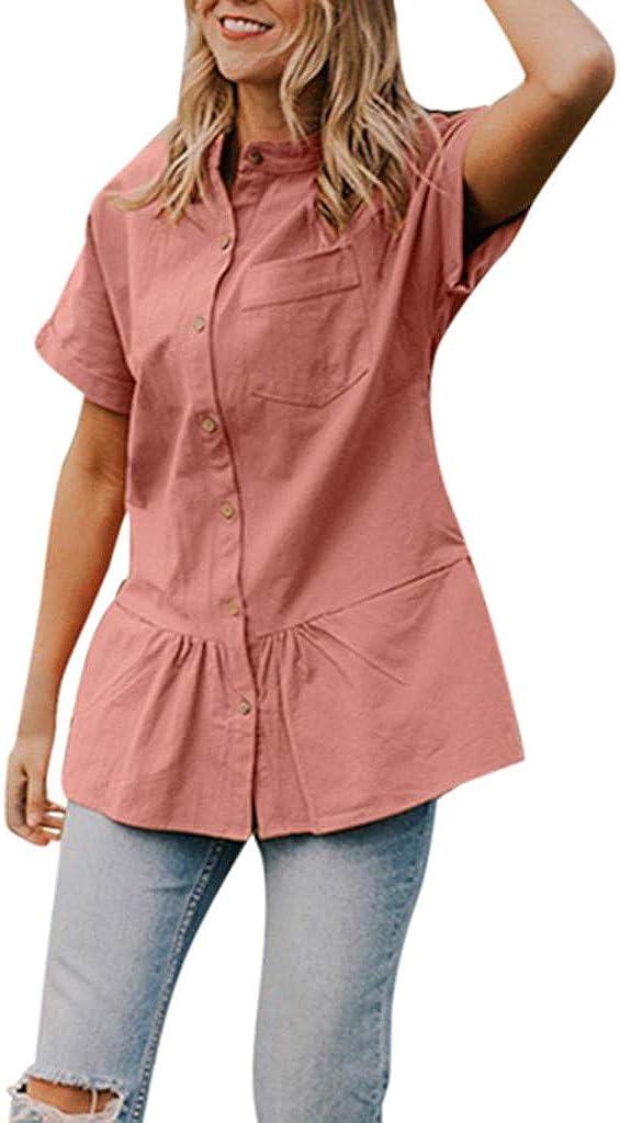TOTOD Tunic Blouse Same 2021 model day shipping Women Elegant Hem Button Shirts Casua Flounce