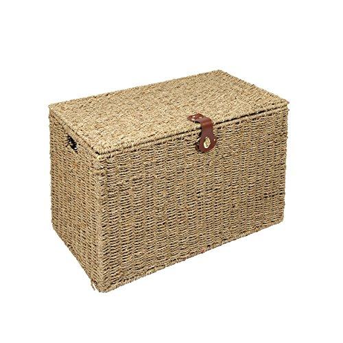 Woodluv Natural Seagrass Storage Trunk Linen Laundary Storage Basket - Medium